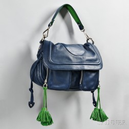 Marc Jacobs Blue and Green Leather Handbag