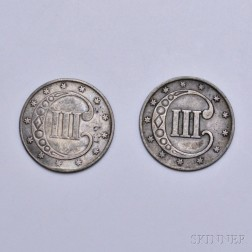 Two 1852 Silver Three Cent Trimes