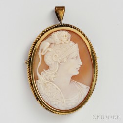 Antique 14kt Gold and Shell Cameo Pendant/Brooch