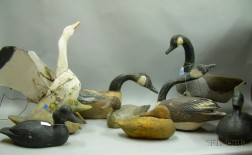 Five Carved and Painted Wooden Duck Decoys and Four Canada Goose Decoys
