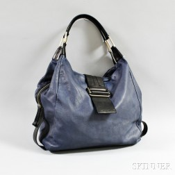 Kenneth Cole Blue and Black Leather Hobo Bag