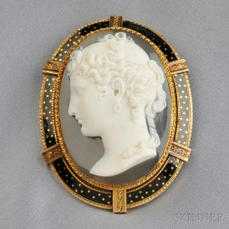 Antique 18kt Gold and Hardstone Cameo Pendant/Brooch