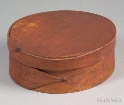 Red-painted Oval Lap-seam Covered Storage Box
