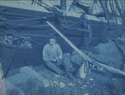 Cyanotype Photograph of a Scrimshander at Work