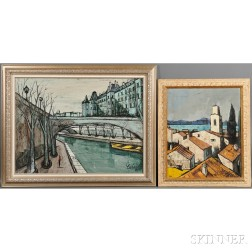 Charles Levier (French, 1920-2003)      Two Framed Paintings: Cargèse
