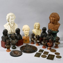 Twenty-five Mostly Bronze Busts and Plaques of Composers