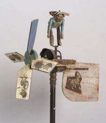 Polychrome Painted Wood and Metal Indian Figure Whirligig
