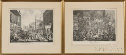 William Hogarth (British, 1697-1764)      Two Framed Engravings:  The Times ,  Plates I and II