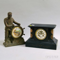 "Belgian Slate and F.D.R. ""Man of the Hour"" Mantel Clocks"