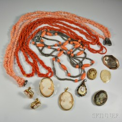Group of Coral and Cameo Jewelry