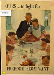 Set of Four Framed Norman Rockwell/1943 U.S. OWI Four Freedoms Lithograph Posters.