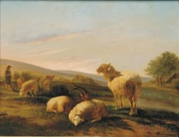 Dutch School, 19th Century    Herder with Sheep and Goats at Sunset.