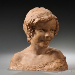 After Jean-Baptiste Carpeaux (French, 1827-1875)       Terra-cotta Bust of a Young Woman