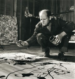 Martha Holmes (American, 1923-2006)      Jackson Pollock Working in His Barn Studio, Springs, New York