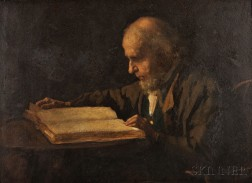 Eastman Johnson (American, 1824-1906)      Old Man Reading