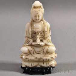 White Marbled Stone Carving of Guanyin