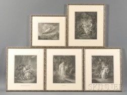 After William Hamilton (British, 1751-1801) Five Works: The Wolves Descending from the Alps, C...