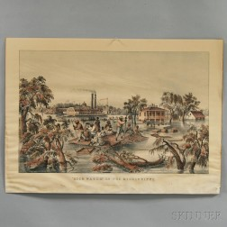 Reproduction Currier & Ives High Water In The Mississippi   Lithograph
