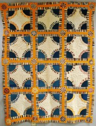 """Pieced Cotton """"New York Beauty"""" Variant Quilt"""