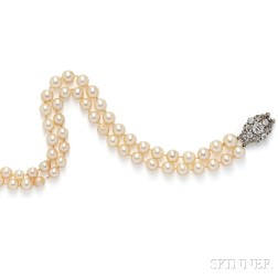 Antique Diamond Clasp with Cultured Pearl Necklace