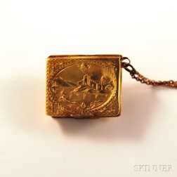14kt Gold Book-form Double Locket with Landscape Decoration