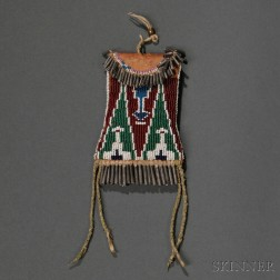 Kiowa Beaded Commercial Leather Strike-a-Light Pouch