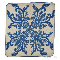 """Blue and White """"Flower Vase of the Palace"""" Patchwork Hawaiian Quilt"""