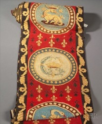 Two Wool Needlework Coat of Arms Panels
