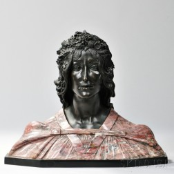 Bronze and Marble Bust of a Woman