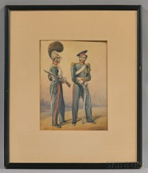 Framed Watercolor Picture of Two Bavarian Soldiers