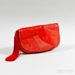 Judith Leiber Red Leather Patchwork Evening Bag