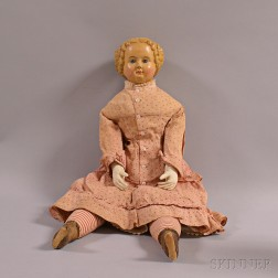 Molded and Painted Papier-mache Girl Doll