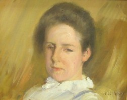 Framed Oil on Canvas Portrait of Woman in a White Blouse by Frederick   Trapp Friis (American, 1865-1909)