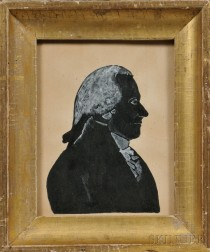 Framed Painted Silhouette of George Washington
