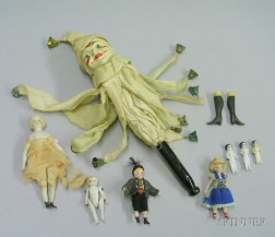 Group of Small Bisque and Cloth Dolls and a Marotte