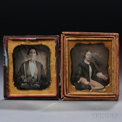 Pair of Sixth-plate Daguerreotypes of a Man Holding a Violin, and of His Wife