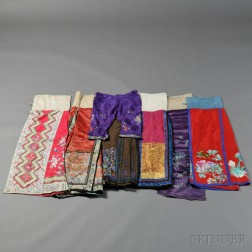Five Lady's Apron Skirts and Two Pairs of Pants