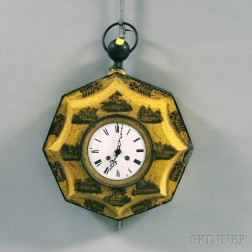 Yellow-painted and Decoupage-decorated Tole Wall Clock