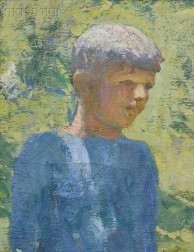 Frank Weston Benson (American, 1862-1951)      Portrait Head of a Boy, An Exercise in Backlighting