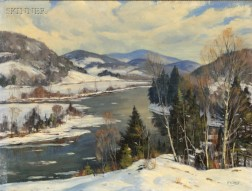 Earle A. Titus (American, 1895-1962)      Connecticut River, Monroe New Hampshire