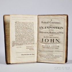 Cotton, John (1585-1652) A Practicall Commentary, or an Exposition with Observations, Reasons, and Uses upon the First Epistle Generall