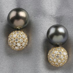 18kt Gold, Tahitian Pearl, and Diamond Earrings