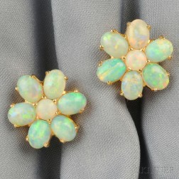 14kt Gold and Opal Earclips