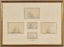 "Five Pencil and Gouache Sketches ""Drawn by Vice-Admiral The Hon. Sir Chas Paget"" Framed Together"