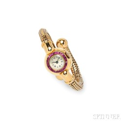 Retro 18kt Gold and Ruby Wristwatch
