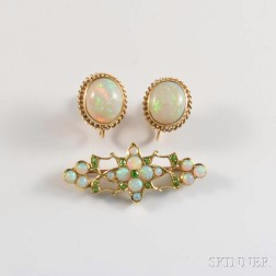 14kt Gold, Opal, and Demantoid Brooch and a Pair of Opal Earrings
