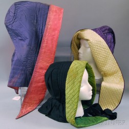Three Quilted Silk Hoods