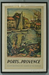 """Framed French National Railways Company """"Ports de Provence"""" Travel Poster"""