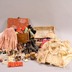 Two Doll Clothing Trunks and a Large Group of Assorted Doll Clothes and Accessories.     Estimate $100-150
