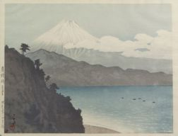 Hasui: Sata Pass in the Hakone Mountains with Mt. Fuji in Distance